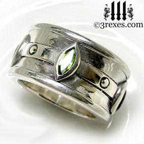 moorish marquise gothic wedding ring for men with green peridot stones