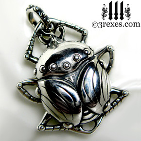 Silver scarab necklace .925 sterling steampunk charm bug insect jewelry pagan beetle jewelry 3 rexes designer