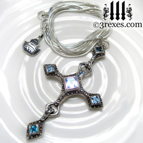 renaissance silver cross necklace with crown charm