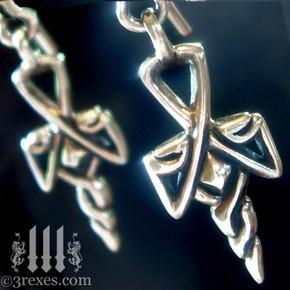 gothic cross charm earrings .925 sterling silver