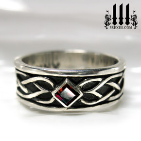 mens celtic knot soul ring with red garnet stone mens medieval wedding ring