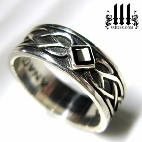 mens celtic knot wedding ring gothic medieval engagement band, lgbtq alt unisex designs, black onyx stone in sterling silver metal