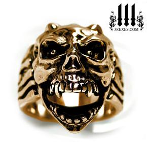 bronze gargoyle devil ring with open jaw mens biker band