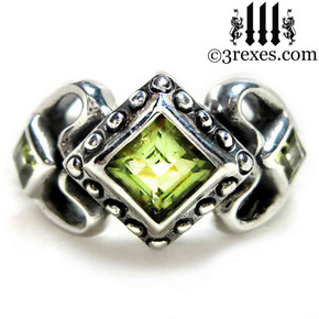 ladies gothic wedding ring womans medieval engagement band with green peridot stones 925 silver princess love ring promise gift for her
