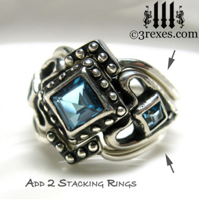 princess love gothic engagement ring with 2 stacking rings ladies silver wedding ring womans medieval engagement band with magical blue topaz princess love ring wicca jewelry