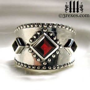 silver medieval wedding ring with gothic garnet stones