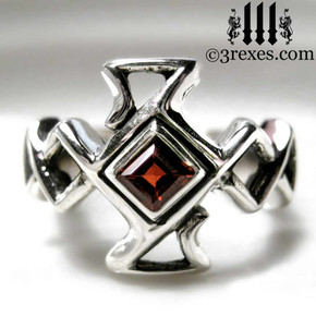 .925 sterling silver celtic cross ring with garnet stone