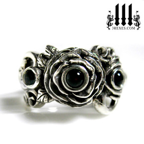 rose moon spider ring with black onyx cabochon stone womans wedding ring, engagement band, silver promise ring