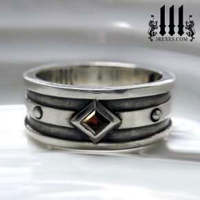 mens garnet ring for gothic wedding, mans silver medieval band, royal jewelry for kings, knights templar jewellery, silver rings for guys, magic ring, august birthstone ring, unique ring for him