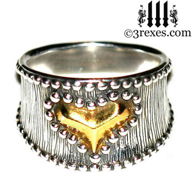 medieval studded gold heart ring with 22kt gold vermeil heart womans steam punk jewelry