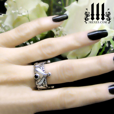 half crown royal ring, .925 sterling silver gothic wedding band for women, with 4 dark black onyx stones for goth girls, fairytale jewelry, unique wedding rings, pagan engagement