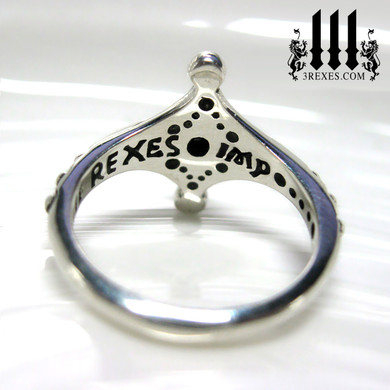 imp silver fairy ring with inscribed design back detail, lgbtq promise ring