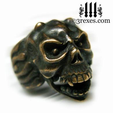 bronze gargoyle devil ring with open jaw