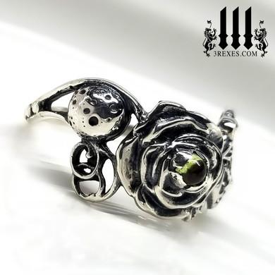 Silver Rose Full Moon Sun Ring