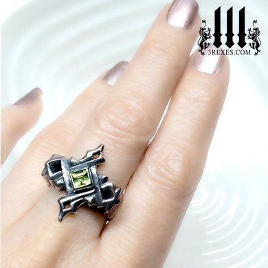 Ladies Cathedral Gothic Silver Ring with Green Peridot stone, Royal Wedding Ring for alternative couple, alt unique lgbtq, different designs for union, model hand view