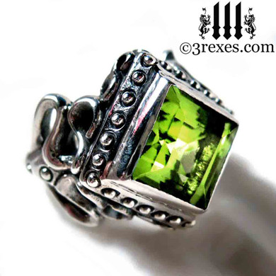 gothic wedding ring with green peridot ladies princess engagement band august birthstone cocktail victorian medieval renaissance