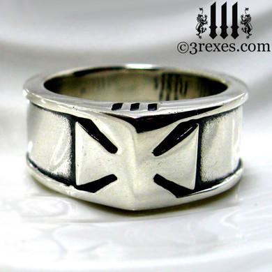 mens iron cross ring, knights templar masonic wedding band, biker jewelry, historic ring, royal kings ring, .925 sterling silver