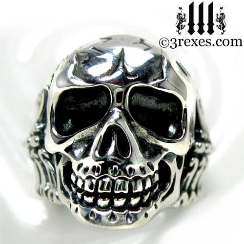 silver skull biker ring .925 sterling front view