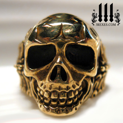 bronze biker skull ring for men pirate jewelry