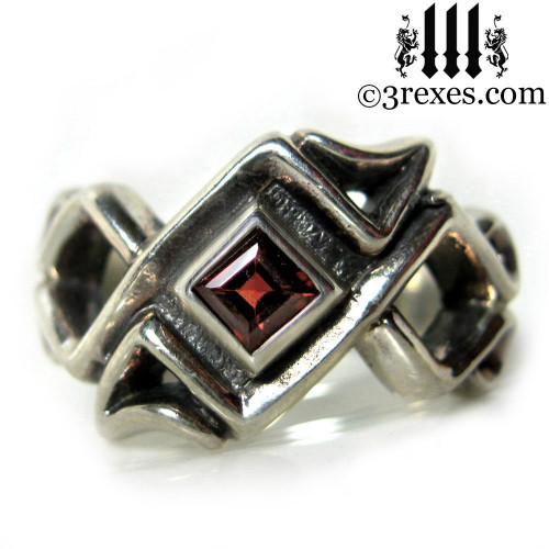 mens celtic ring with garnet stone .925 sterling silver gothic mens medieval wedding band, historic jewelry