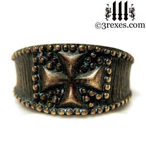 rustic bronze studded iron cross ring