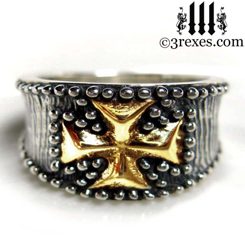 mens knights templar ring .925 sterling silver with gold iron cross masonic jewelry christian