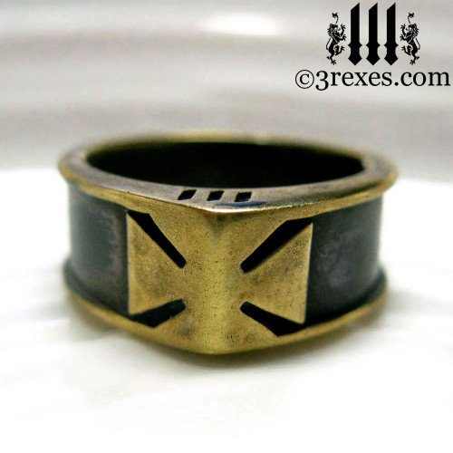 iron cross ring with darkened bronze masonic knights templar band