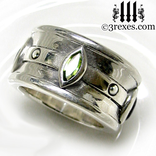 moorish marquise gothic wedding ring for men with green peridot stones