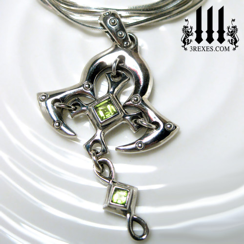 moorish princess silver cross necklace with green peridot stones renaissance gothic medieval jewelry