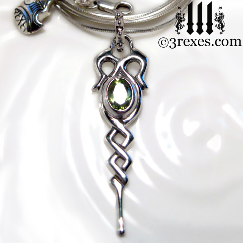 925 sterling silver dripping celtic princess necklace with green peridot stone