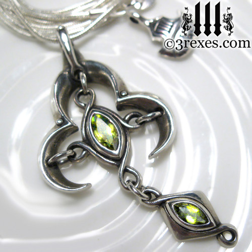 moorish marquise silver cross pendant with green peridot stones renaissance gothic medieval necklace