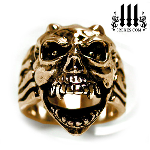bronze gargoyle devil ring with open jaw mens biker band