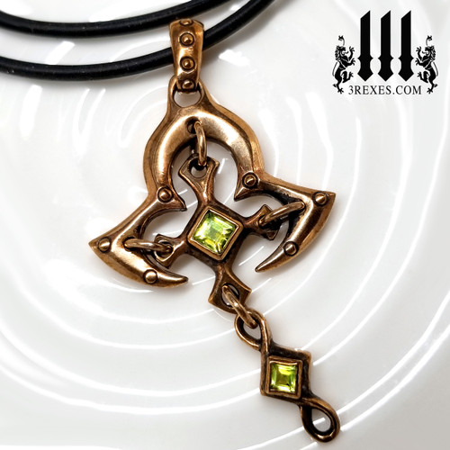 Bronze Moorish Princess Cross Necklace | Historic Gothic Pendant with green peridot Semi Precious Stones. and rubber choker