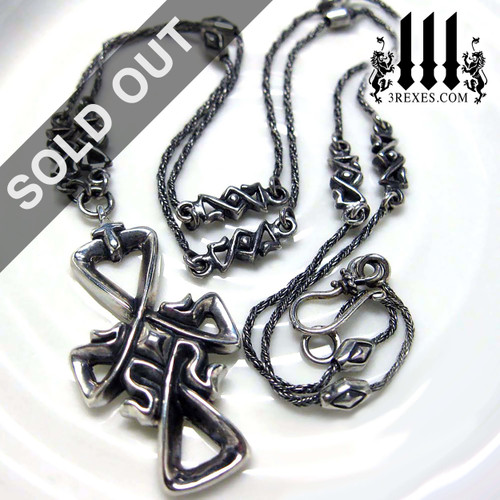 gothic cross bohemian charm necklace unisex .925 sterling silver jewelry medieval unisex design