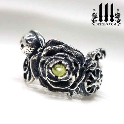 Silver Rose Full Moon Sun Ring