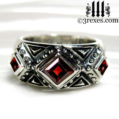 gothic rings for men, .925 sterling silver goth wedding ring with garnet stones 3 kings band ring, Medieval engagement  crown, dark ages jewelry, pagan ring, wicca, christian, middle ages, history, historical, spiritual, 3 rexes jewelry, unique jewellery designs