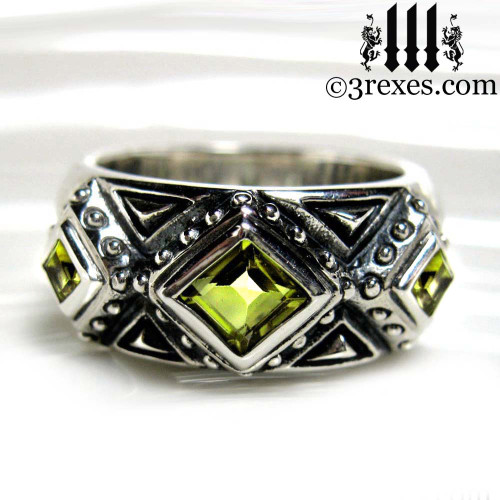 mens king silver gothic wedding ring with green peridot stones .925 sterling silver 3 kings band ring, Medieval engagement  crown, dark ages jewelry, pagan ring, wicca, christian, middle ages, history, historical, spiritual, 3 rexes jewelry, unique jewellery designs
