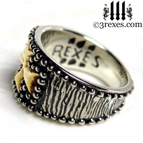 mens medieval iron cross ring .925 sterling silver with gold cross knights templar masonic jewelry christian side view
