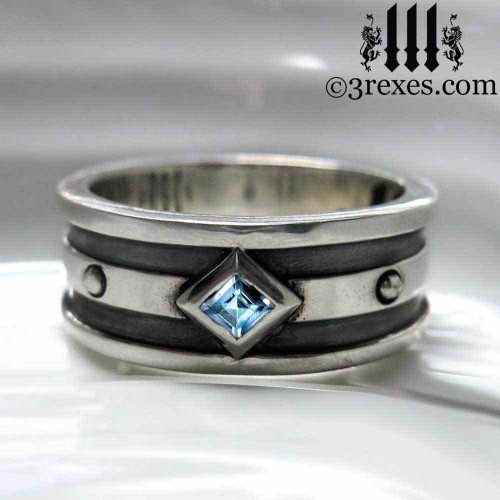 silver gothic wedding ring with blue topaz stone mens silver medieval band, royal jewelry for kings, knights templar jewellery, silver rings for guys, magic ring