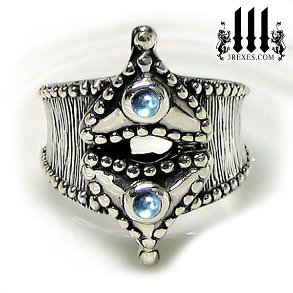 silver medieval fairy tale ring with blue topaz cabochon stones