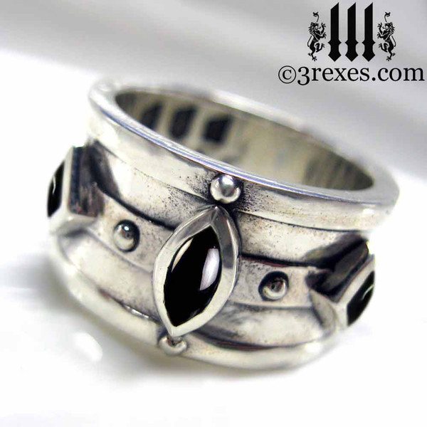 mens wedding ring medieval king band with gothic .925 sterling silver black onyx cabochon