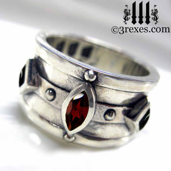 mens wedding ring medieval king band with gothic garnet .925 sterling silver