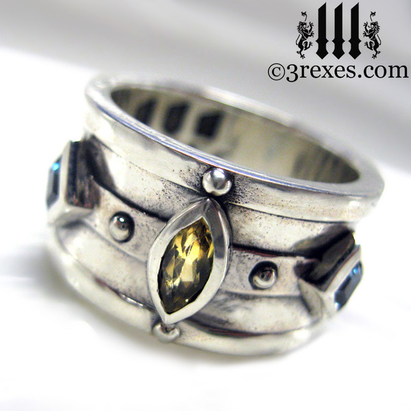 mens wedding ring medieval king band with gothic .925 sterling silver with citrine