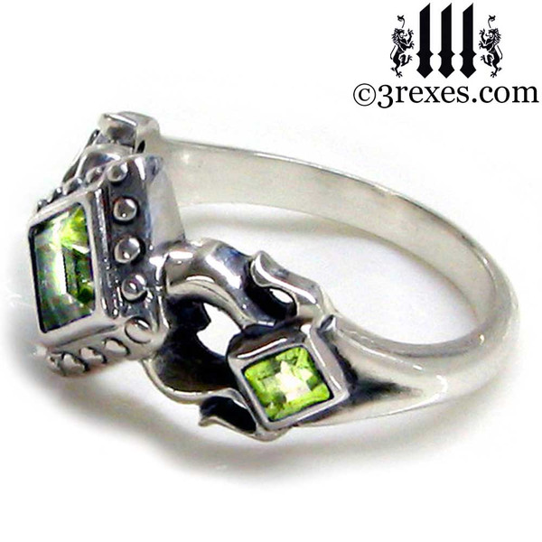 side medieval wedding ring for her side view .925 sterling silver