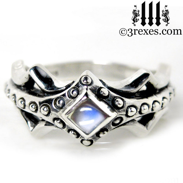silver medieval engagement ring with moonstone