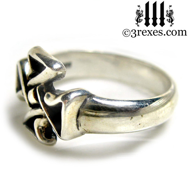 celtic cross friendship ring .925 sterling silver side view