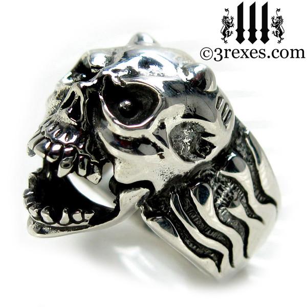 .925 sterling silver skull gargoyle ring side detail open jaw