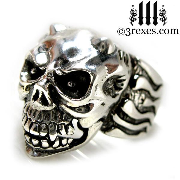 .925 sterling silver skull gargoyle ring side detail