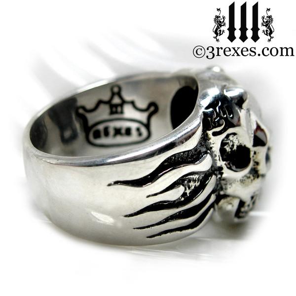 .925 sterling silver skull gargoyle ring back detail