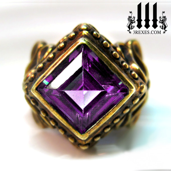 raven love bronze wedding ring with large purple amethyst stone gothic victorian wedding ring